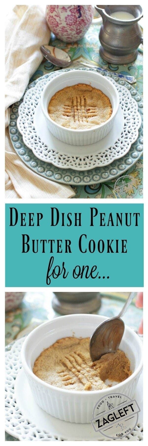 deep dish peanut butter cookie for one | One Dish Kitchen