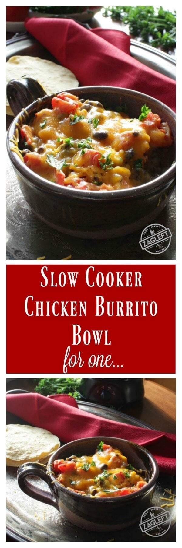 Slow Cooker Chicken Burrito Bowl For One, made with one chicken breast, chili-spiced beans, corn and rice. A simple, healthy and flavorful one-pot meal.