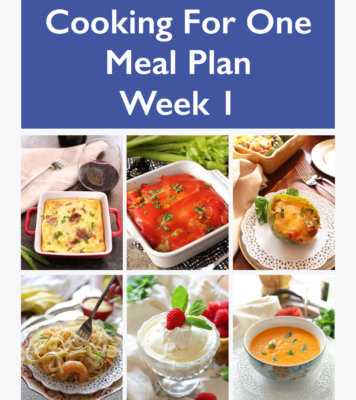 This Cooking For One Meal Plan, Week 1 includes recipes, a grocery list and cooking tips. These meal plans are ideal for anyone cooking for one or two people and is designed for people who live on their own, a parent who wants to indulge themselves while their kids have their favorites, couples that can't agree on what they want for dinner or caregivers providing meals to a parent or friend. | One Dish Kitchen