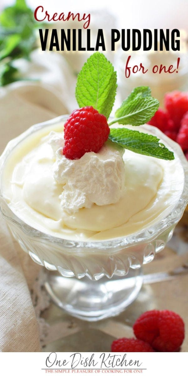 Rich and creamy homemade Vanilla Pudding For One, a wonderful single serving dessert that takes minutes to make and is so much better than store-bought versions. This pudding will take your taste buds by surprise! The vanilla flavor is intense in the most glorious way! It's thick, luscious and over-the-top delicious. | onedishkitchen.com